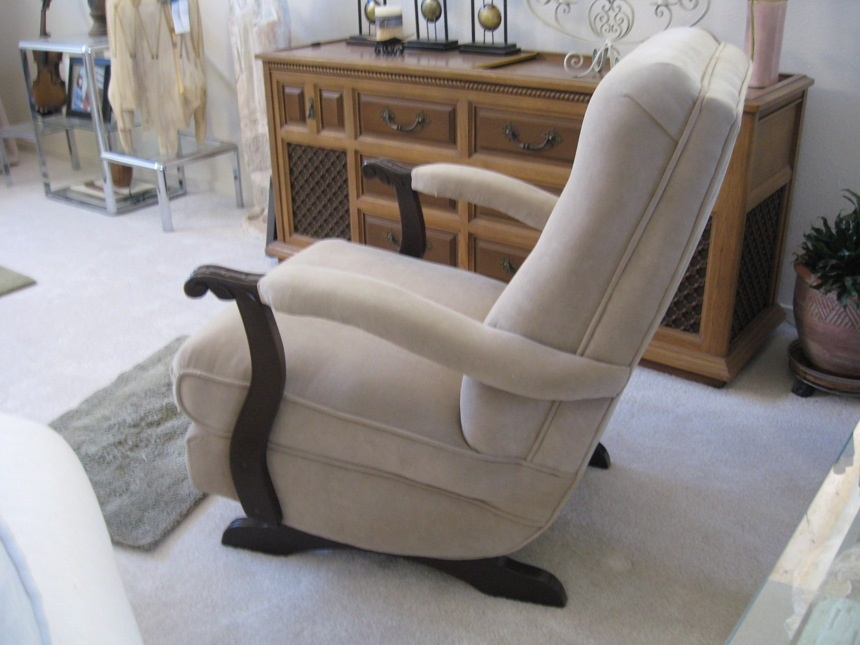kids upholstered rocking chair contemporary leather chairs platform rocker 1950's | collectors weekly