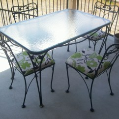 Wrought Iron Table And Chairs Baby High Chair Wood Salterini 5 Piece Patio