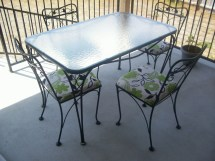 Salterini 5 Piece Wrought Iron Patio Table And Chairs