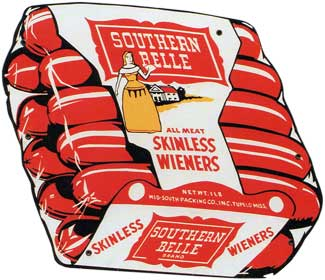 Southern Bell brand diecut sign c. 1950s