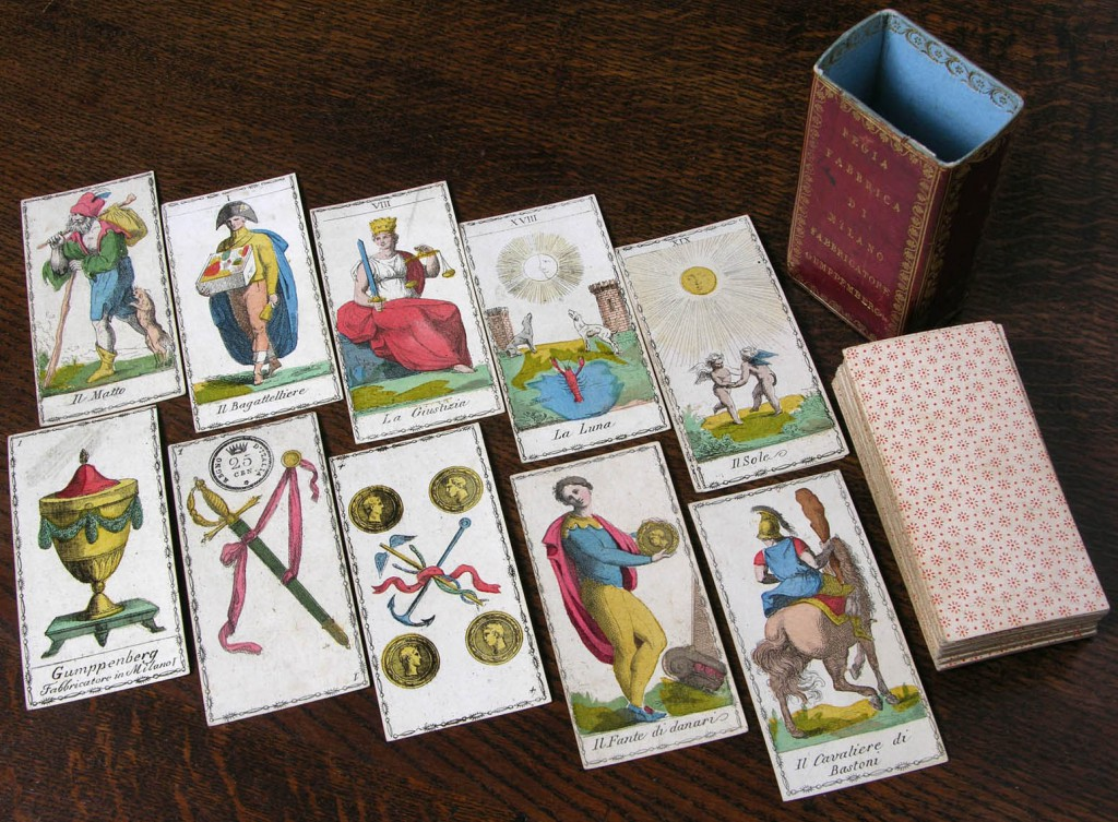 A hand-colored set of tarot cards produced by F. Gumppenberg, circa 1810. Photo courtesy Bill Wolf.