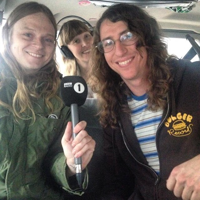 Sean Bohrman, left, and Lee Rickard, right, were interviewed on BBC 1 Radio in March 2015. (Via the Burger Records Facebook page)