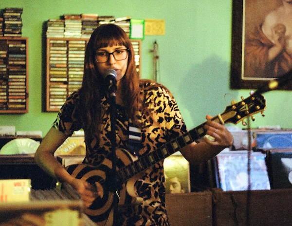 Ellie Mae Carpenter plays with her band, the Abigails, at the Burger Records store in Fullerton, California, in 2012. (By Stephanie Pratt, via the Burger Records web page)