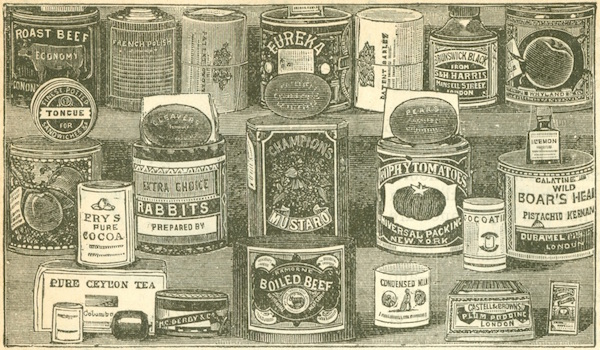 "Images of canned and boxed foods from the 1891 edition of ""Mrs. Beeton's Book of Household Management,"" from the Chrismans' collection. (From ThisVictorianLife.com)"