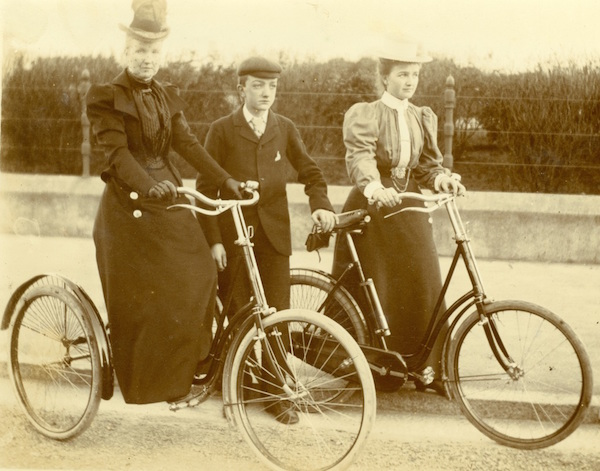 An image from the Chrismans' collection shows two women and a boy with safety bicycles. (From ThisVictorianLife.com)
