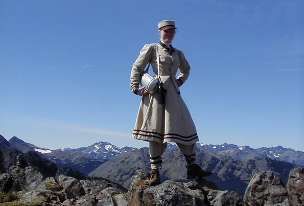 "Sarah on top of Mount Townsend in Washington State's Olympic Mountains. She based her hiking outfit on the ""immodest"" shorter-skirt-and-trouser combo worn by Fay Fuller, the first woman reach the summit of Mount Rainier in 1890. (From ThisVictorianLife.com)"