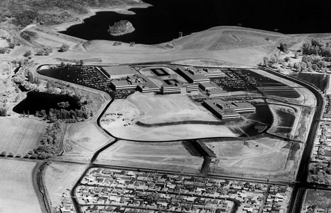 An aerial view of the Ramo-Wooldridge campus in Canoga Park, California, 1960.