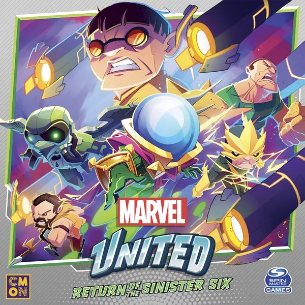 Marvel United: Return of the Sinister Six, CMON Limited / Spin Master Ltd., 2021 — front cover (image provided by the publisher)