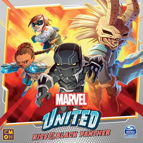 Marvel United: Rise of the Black Panther, CMON Limited / Spin Master Ltd., 2021 — front cover (image provided by the publisher)
