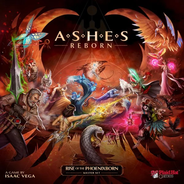 Ashes Reborn: Rise of the Phoenixborn, Plaid Hat Games, 2021 — front cover (image provided by the publisher)