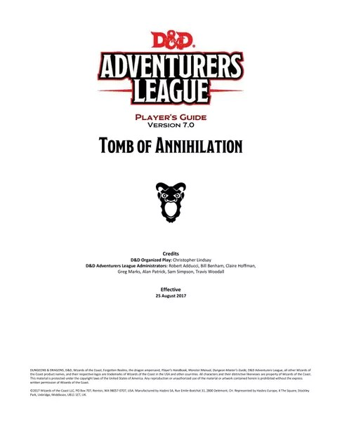 Adventurers League Player's Guide (Tomb of Annihilation