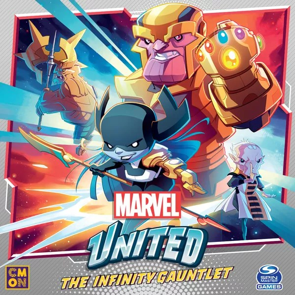 Marvel United: The Infinity Gauntlet, CMON Limited / Spin Master Ltd., 2021 — front cover (image provided by the publisher)
