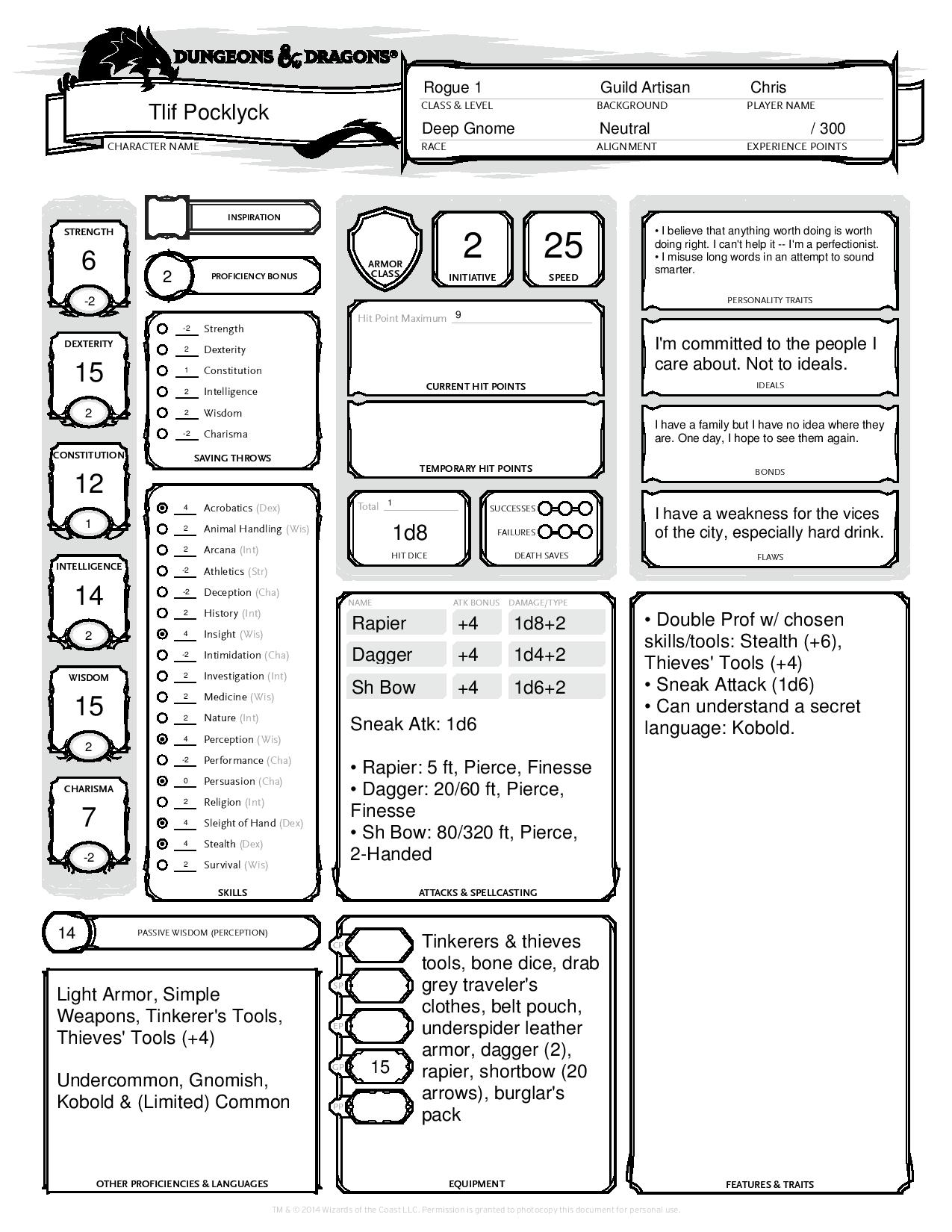 {CEPRA} Character Creation for the D&D 5e Play by Forum