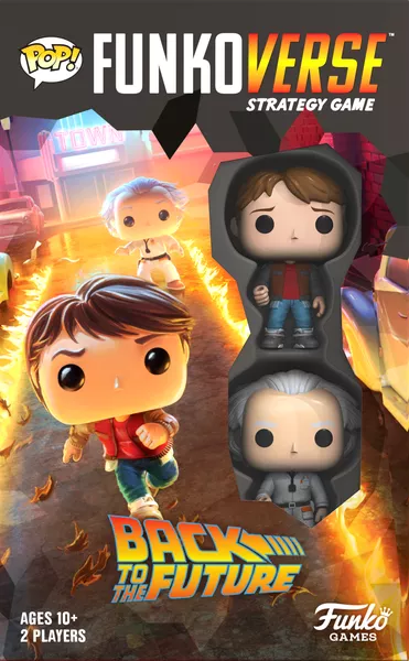 Funkoverse Strategy Game: Back to the Future 100 – Marty McFly & Doc Brown, Funko Games, 2020 — front cover (image provided by the publisher)