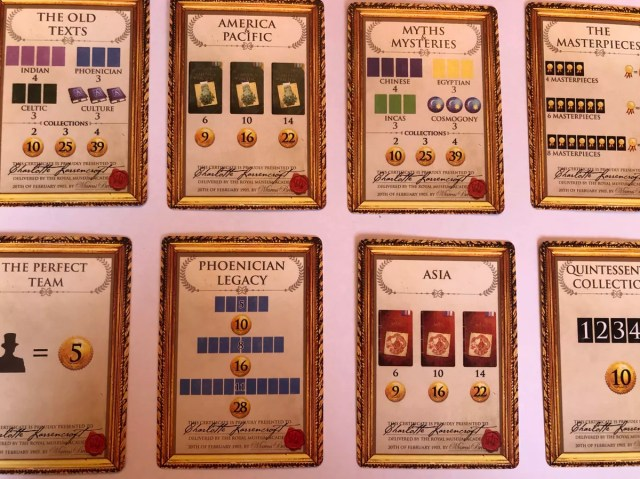 Patron cards showing what sort of exhibits players need to organise.