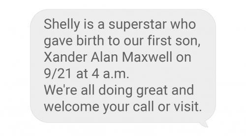 baby birth announcement text