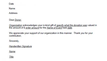 donation thank you letter