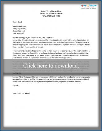 Sample Scholarship Recommendation