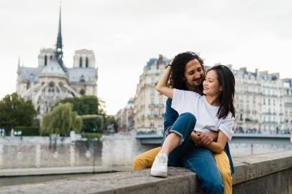 Happy couple in Paris, France