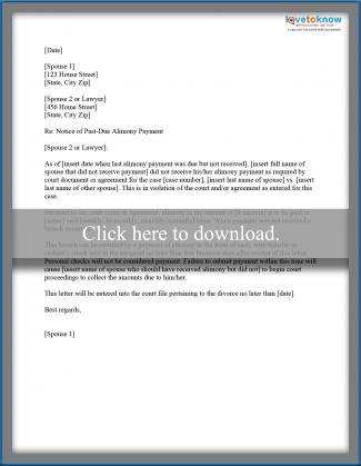 Sample Alimony Letters Lovetoknow