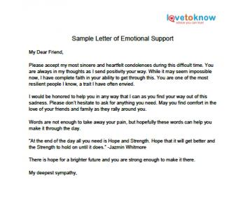 Printable Sample Letter Of Emotional