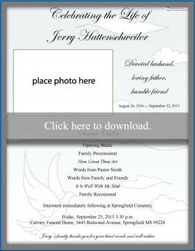 free printable funeral program