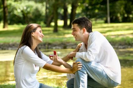 Man proposing to his girlfriend in the park