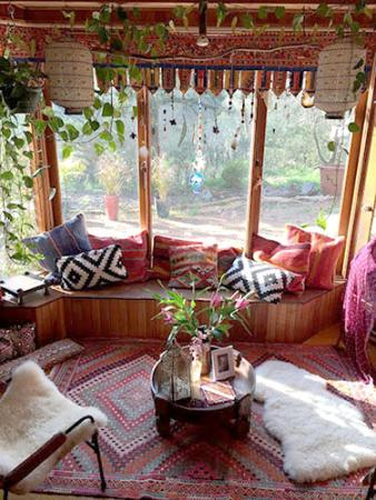 orange living room decorating ideas built in bar cheap bohemian | lovetoknow
