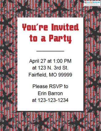ninja birthday party invitations