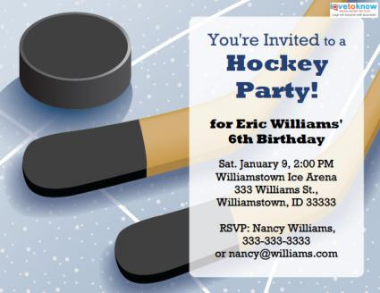 Printable Hockey Party Invitations LoveToKnow