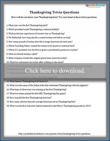photo relating to Thanksgiving Trivia Printable identified as Thanksgiving Trivia Inquiries LoveToKnowfree printable 80s