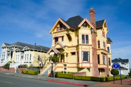 Victorian Houses in historic downtown Eureka, California