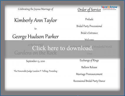 free wedding program templates