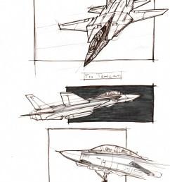brown ink sketches of an f 14 tomcat jet plane  [ 1107 x 1480 Pixel ]