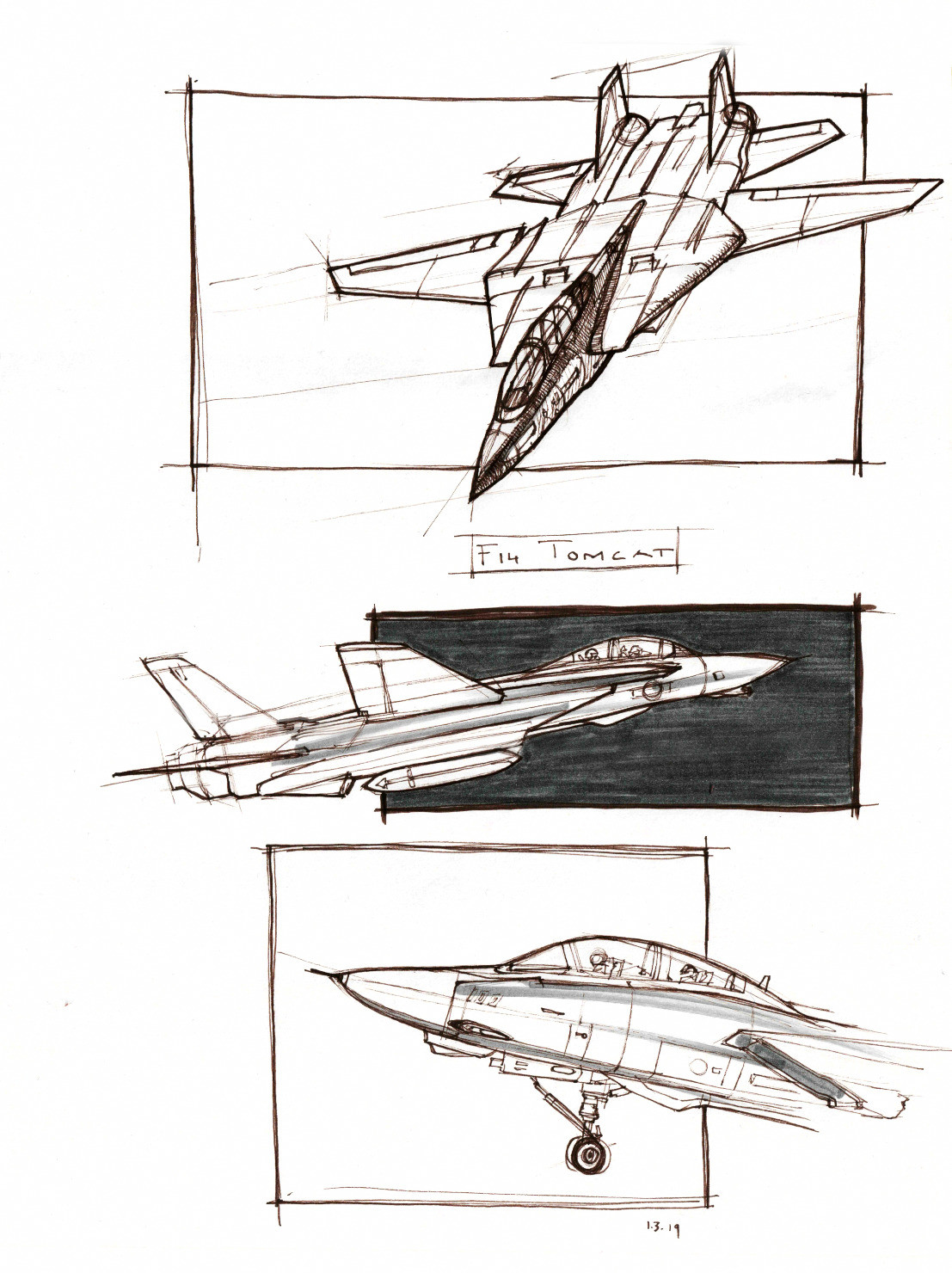 hight resolution of brown ink sketches of an f 14 tomcat jet plane