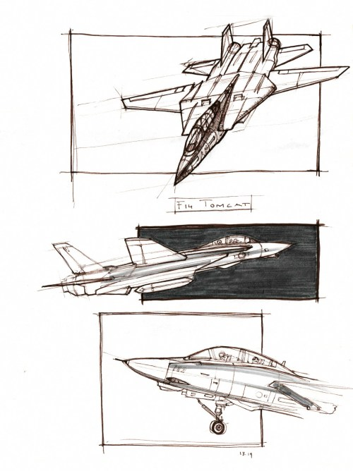 small resolution of brown ink sketches of an f 14 tomcat jet plane