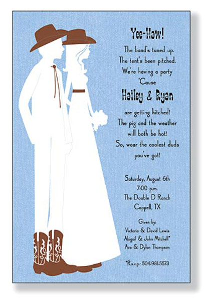 A Western Theme Diy Blank Wedding Invitation For The Bride Or Party Host