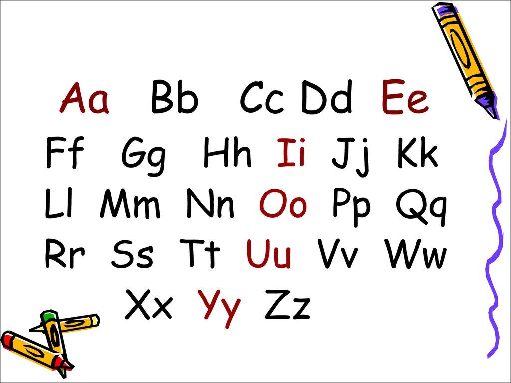 Alphabet 26 Letters 6 Vowels 20 Consonants