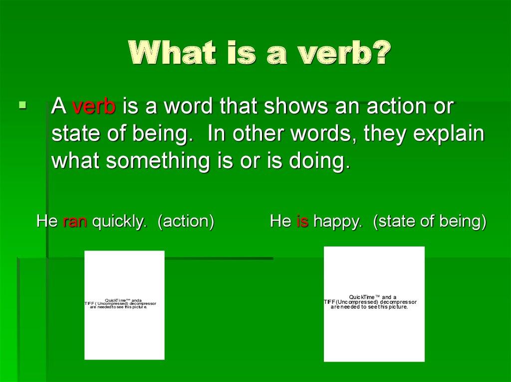 Verbs What is a verb  online presentation