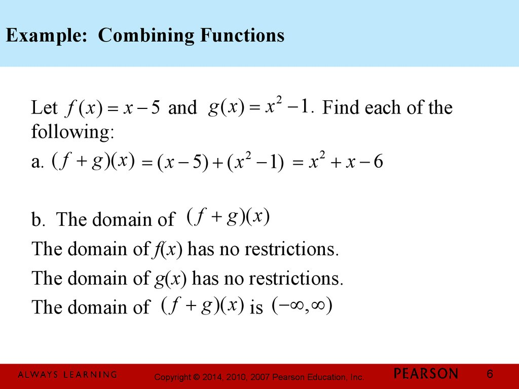 Worksheet On Combining Functions