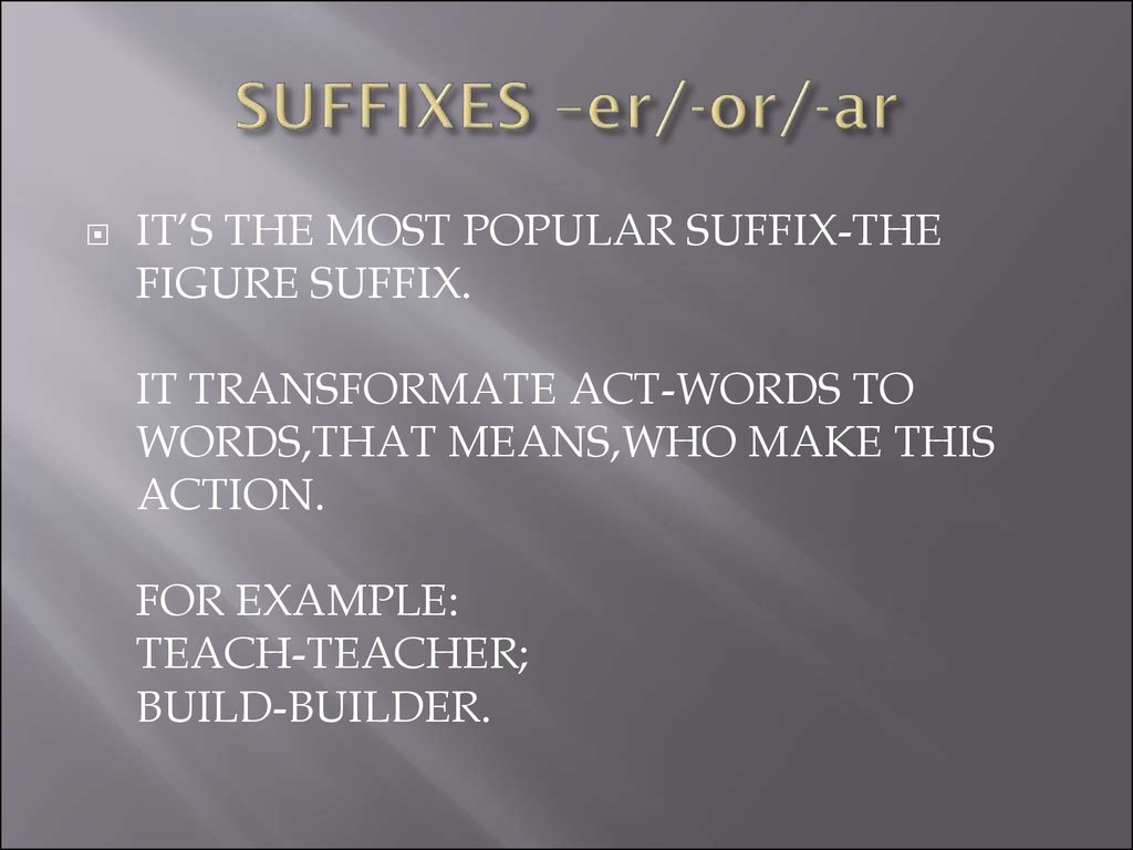 Some Of Noun Suffixes In English