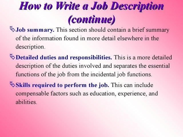 Job description writing service, Free Job Description Template