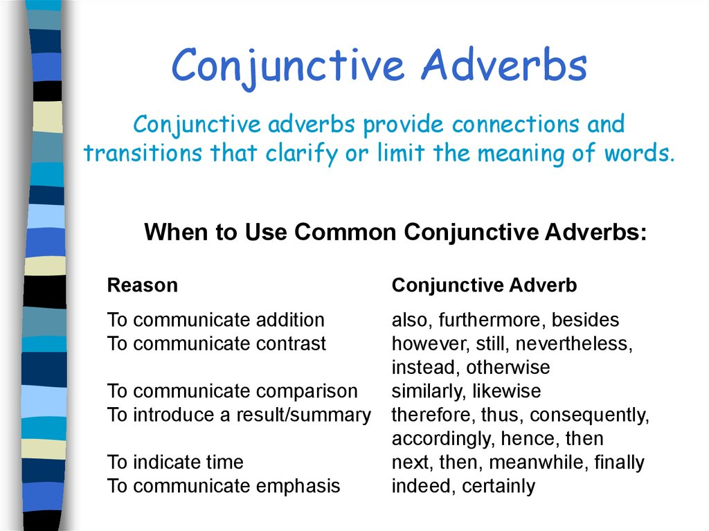 Conjunctions Table Of Contents