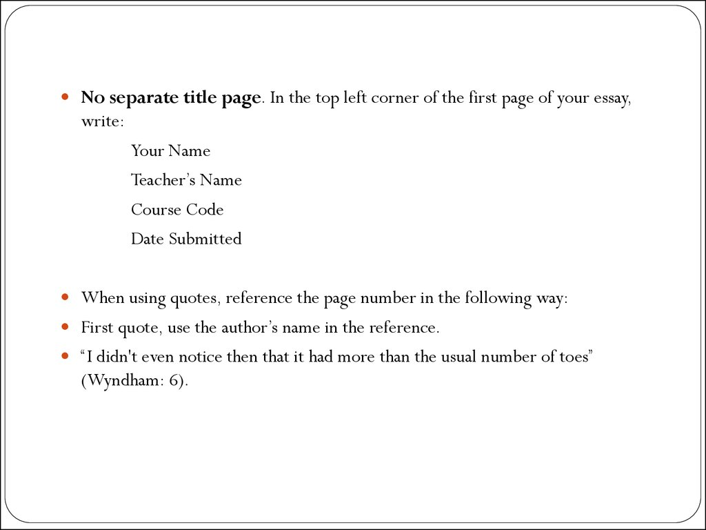 essay title page