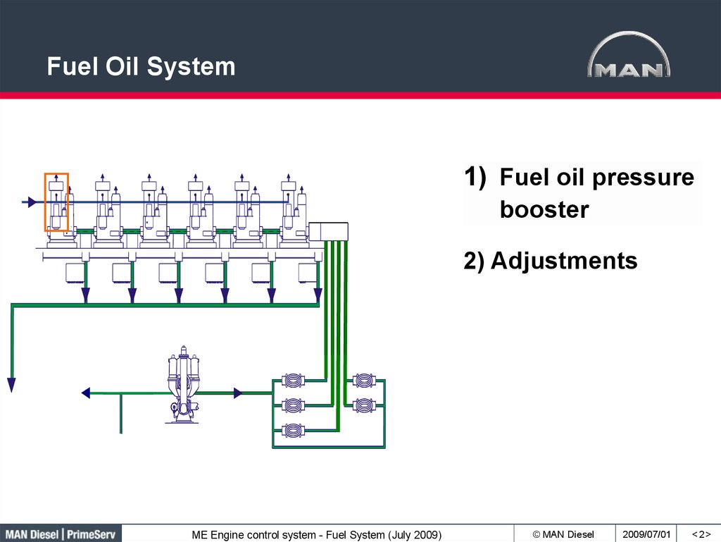 hight resolution of fuel oil system 1 fuel oil pressure booster 2 adjustments me engine control system fuel system july 2009 man diesel 2009 07 01