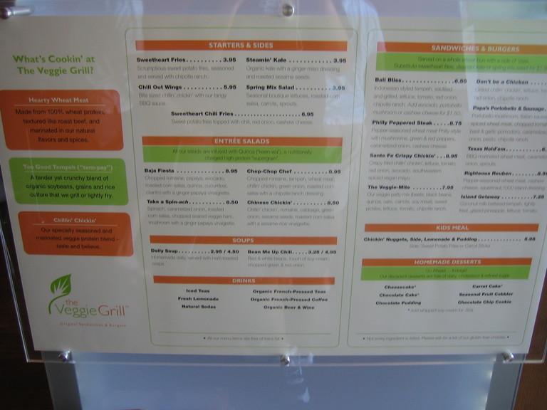 Veggie Grill Menu Prices