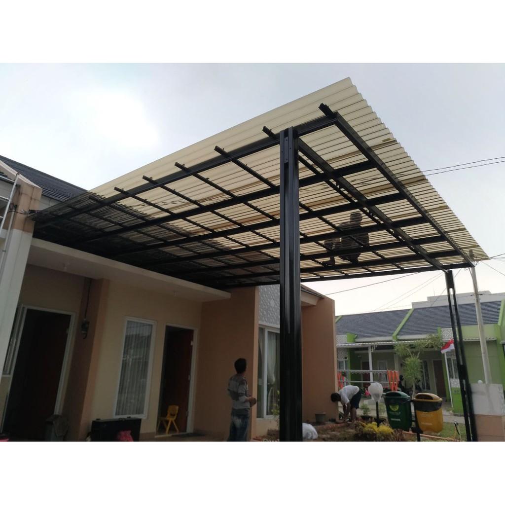 harga kanopi baja ringan per meter persegi solartuff minimalis tiang double cat