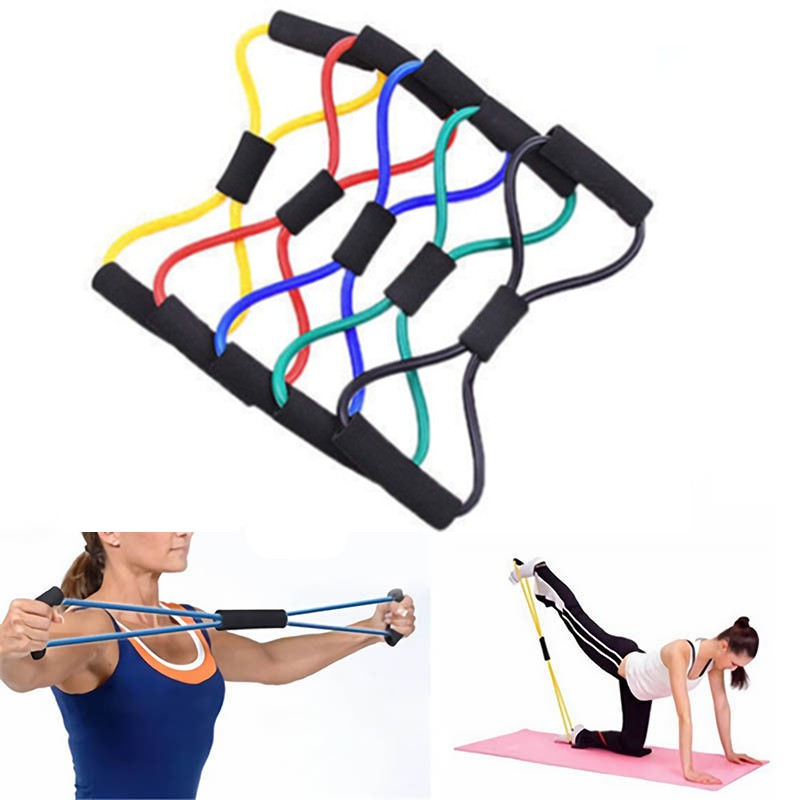Sport Yoga Fitness 8 Shape Pull Rope Latex Resistance Band Chest Exercise Ld Shopee Indonesia