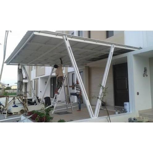 baja ringan untuk garasi mobil kanopi alderon model tiang v double cat
