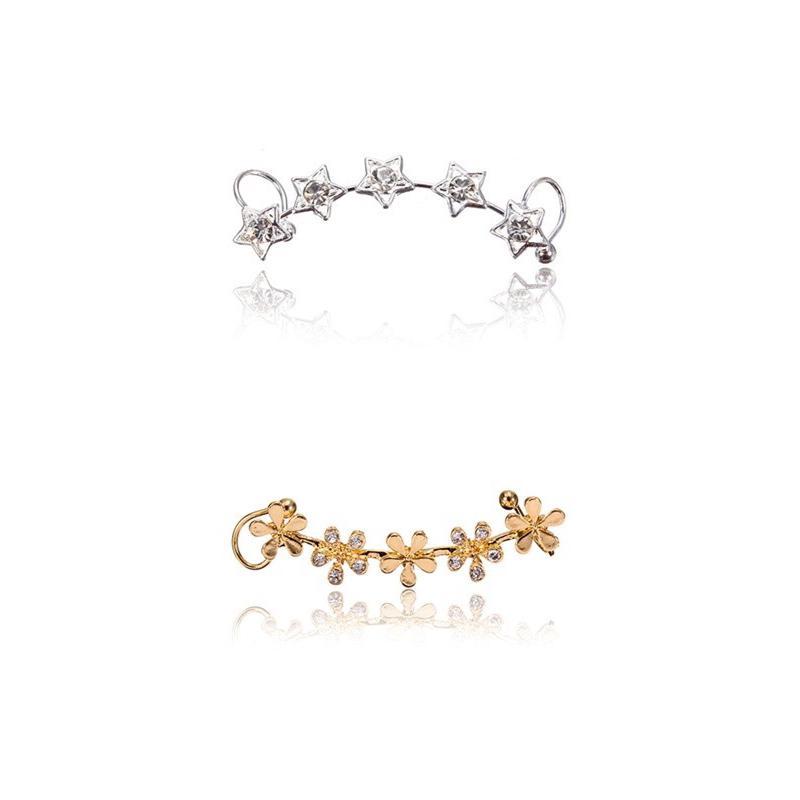 1pc Fashion Retro Crystal Star Flower Ear Cuff Stud